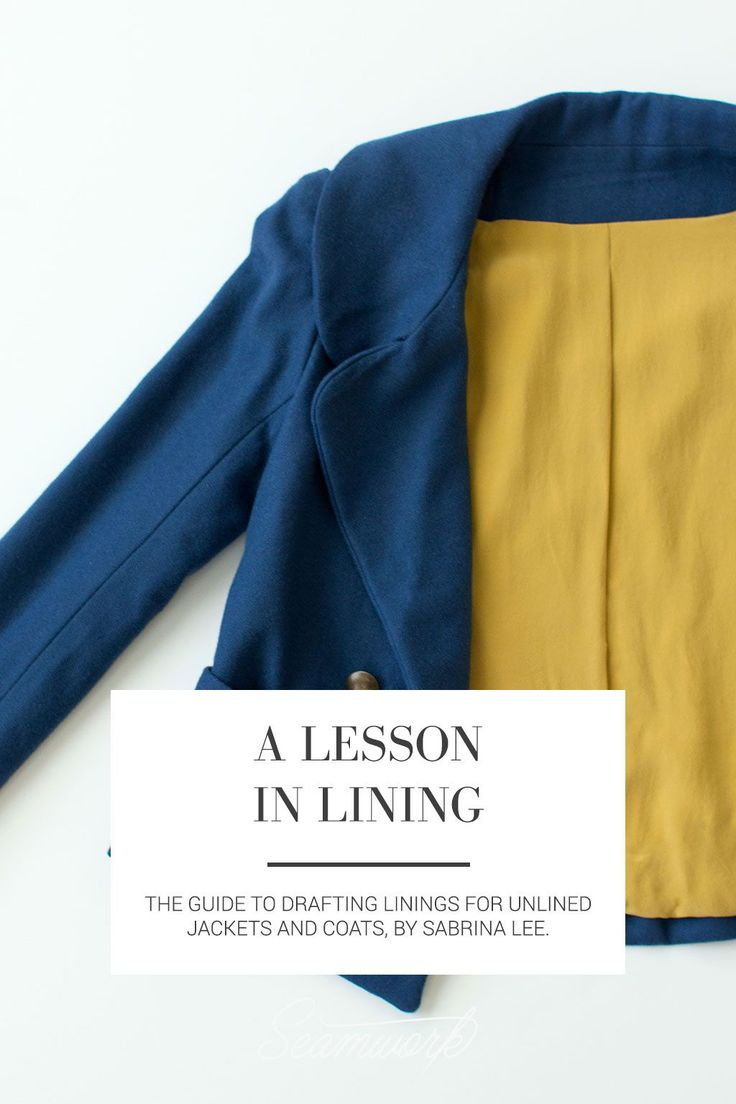 Seamwork Magazine: A Lesson in Lining (includes how to remove shoulder pad allowance)