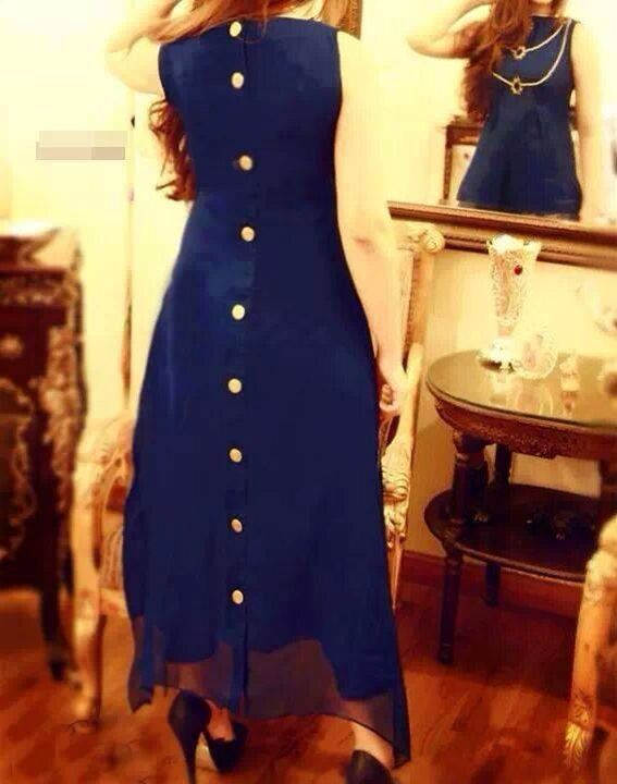#Long #kurta #backbuttons #navyblue #blue #elegant #flowy #chic