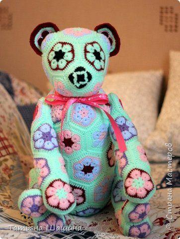 Игрушка Вязание крючком Медведь из мотивов Пряжа Пуговицы фото 1