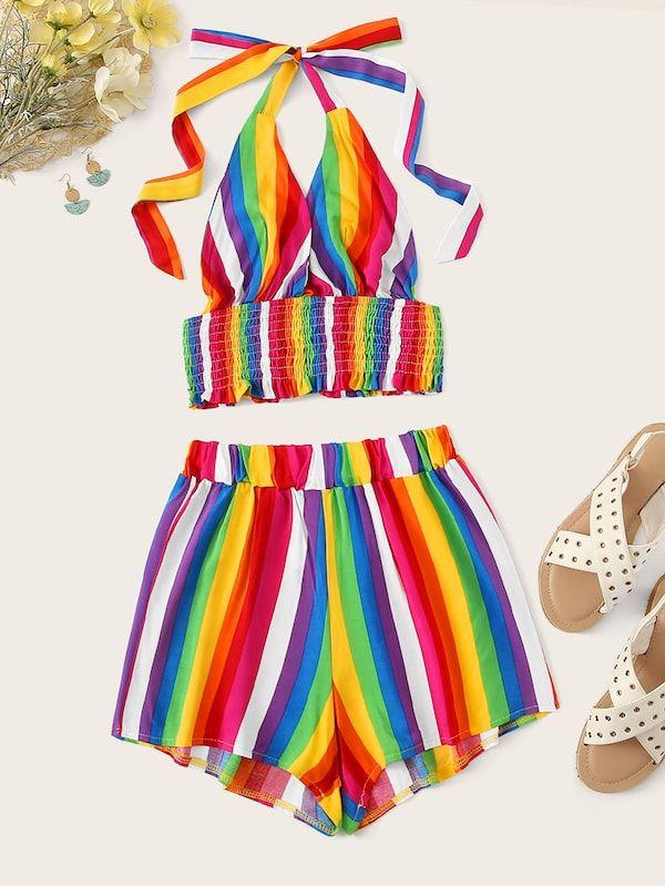 1b7097d6f1 Plus Rainbow Stripe Shirred Halter Top & Shorts | SHEIN | II TRENDY ...