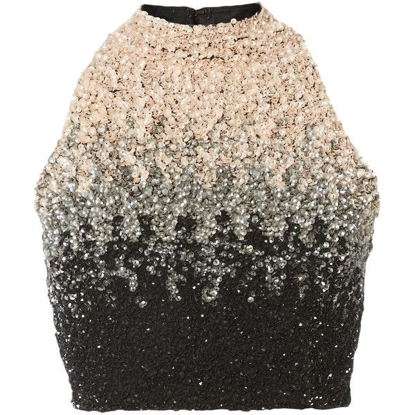 Lace and Beads Ombre Sequin Crop Top ($82) ❤ liked on Polyvore featuring tops, shirts, women, black sequin shirt, lace crop top, beaded crop top, lace top and sleeveless shirts