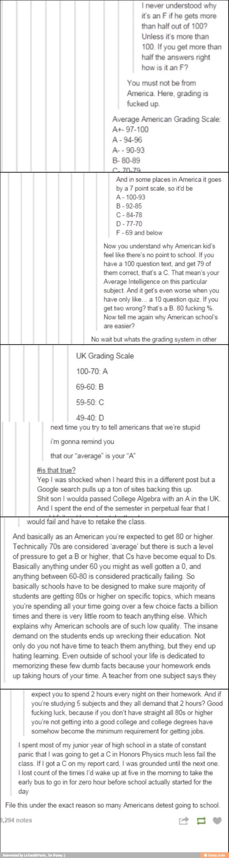 The american grading system is flat-out stupid. like, you miss 30 points? That's considered the same thing as an F in my school 9 it's not graded as that but it feels like it is, to everyone). It definitely bothers me that the majority of scores you can get are an F. the possible amount of scores. F. It makes everyone that I know so worried about grades and hw and shit. fuck this.