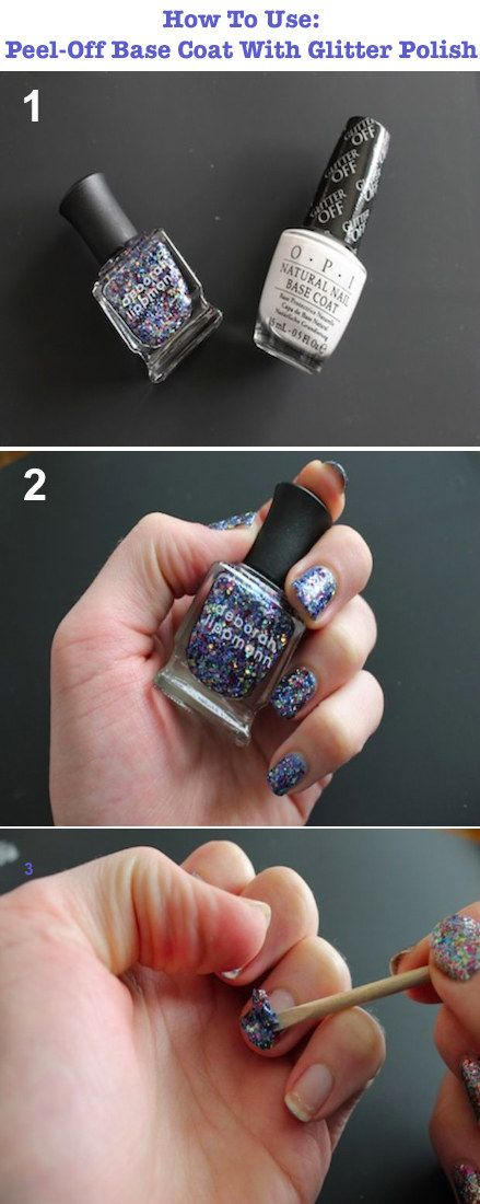 Use a peel-off base coat with glitter nail polish so that the removal process…