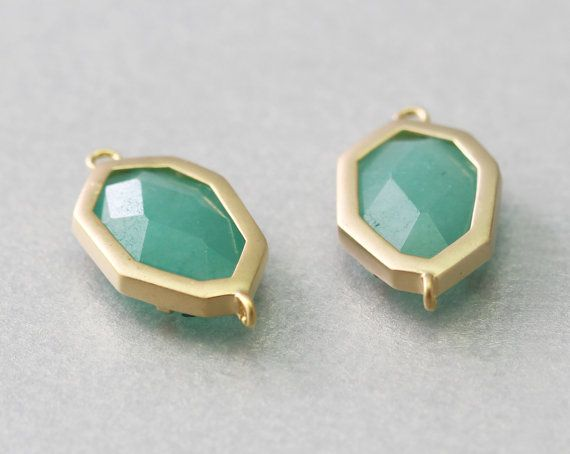 Amazonite Hexagon Gemstone Connector . Matte Gold Plated .