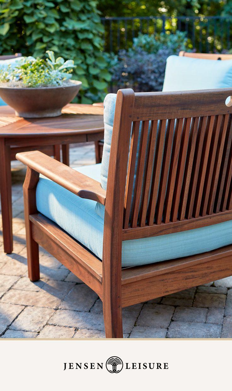Ipe Wood Outdoor Deep Seating From Jensen Leisure Wooden Outdoor Furniture Outdoor Wood Furniture Outdoor Furniture Sets