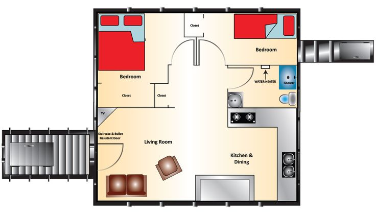 The Admiral Series Bomb Shelter for Sale – 20′x 20′ Admiral – $156,000