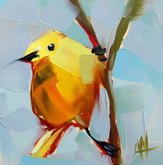 Yellow Warbler no. 41 original bird oil painting by Angela Moulton