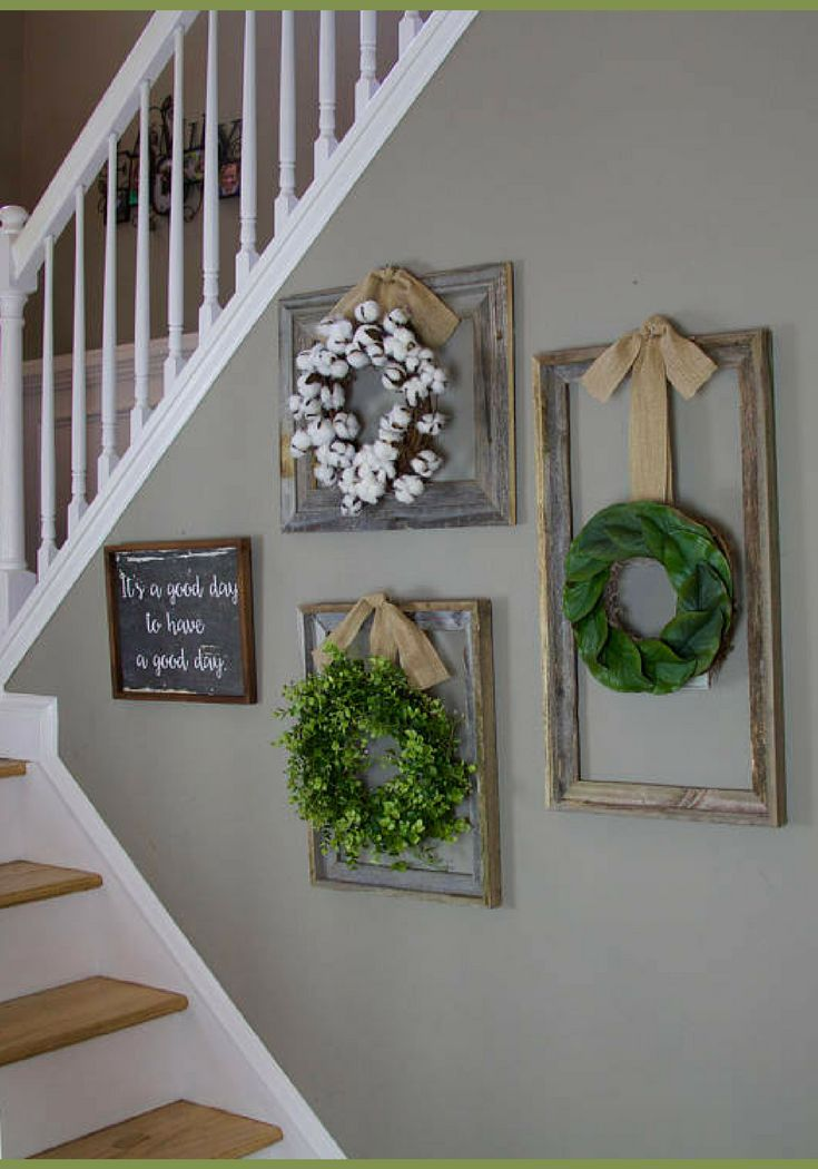 Love the layout! I have a couple of odd shaped spaces that this would look great in. I like the different wreathes together too! Farmhouse wreath, Gallery Wall Decor, Rustic Decor, Fixer Upper Decor, Wreath in frame, Cottage wreath, Eucalyptus Wreath, Cotton Wreath, entryway Home decor, living room Farmhouse decor, Rustic wreath, gift idea #ad