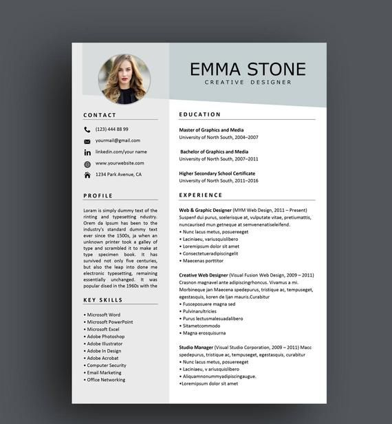 Resume Template Professional Resume Template Creative Resume Etsy Resume Template Professional Good Resume Examples Creative Resume Templates