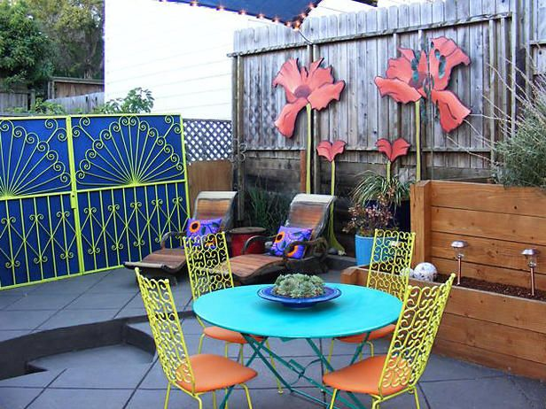 Paint, fabric and accessories bring jewel tones to a once-dull patio. Color Splash host David Bromstad combined elements of art nouveau, reinventing some flea market finds to create an eclectic outdoor oasis.       You Might Also Like... Destination Decks and Patios Advertisement