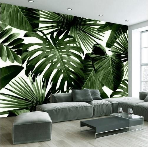 3D Retro Tropical Rain Forest Wallpaper Banana Leaves Wall Mural
