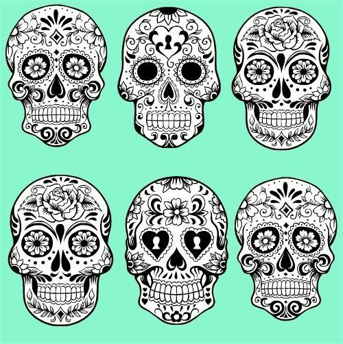 Sugar skulls -- For a punk-neon Halloween, perhaps? Description from pinterest.com. I searched for this on bing.com/images