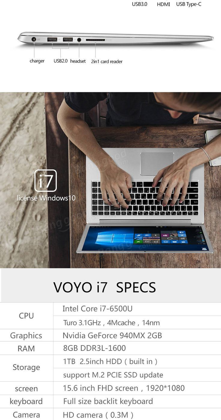 VOYO I7 Notebook Win 10.1 15.6 Inch Intel Core I7 6500U 8GB/1TB EMMC 1920x1080 Bluetooth 4.0 Laptop