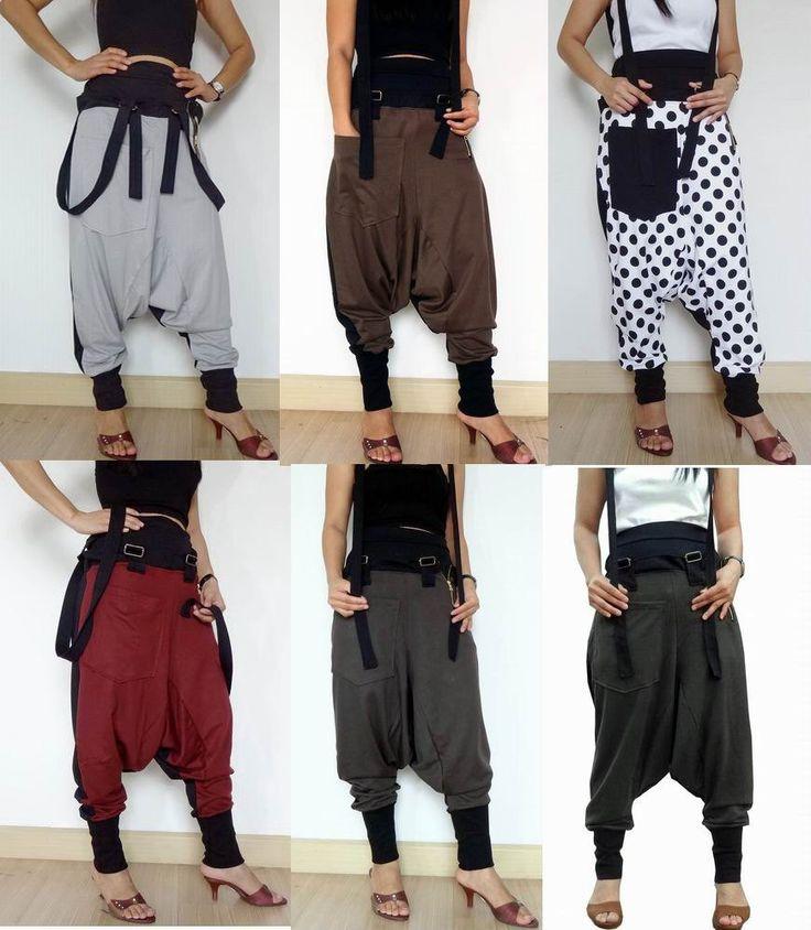 25% OFF Extra Large Maroon/Black - Harem Pants, Ninja Suspender GauchoTrousers. - Pants