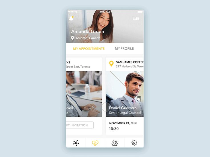 Social app interaction by Irina Medyantseva