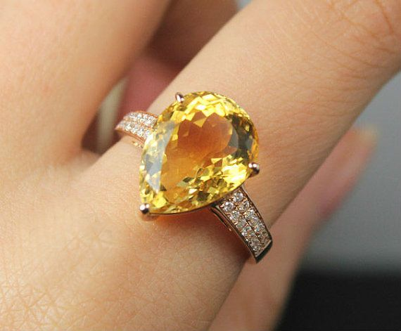 Amazing  Carat Citrine Engagement Ring Diamonds K by SteveleeJewelry