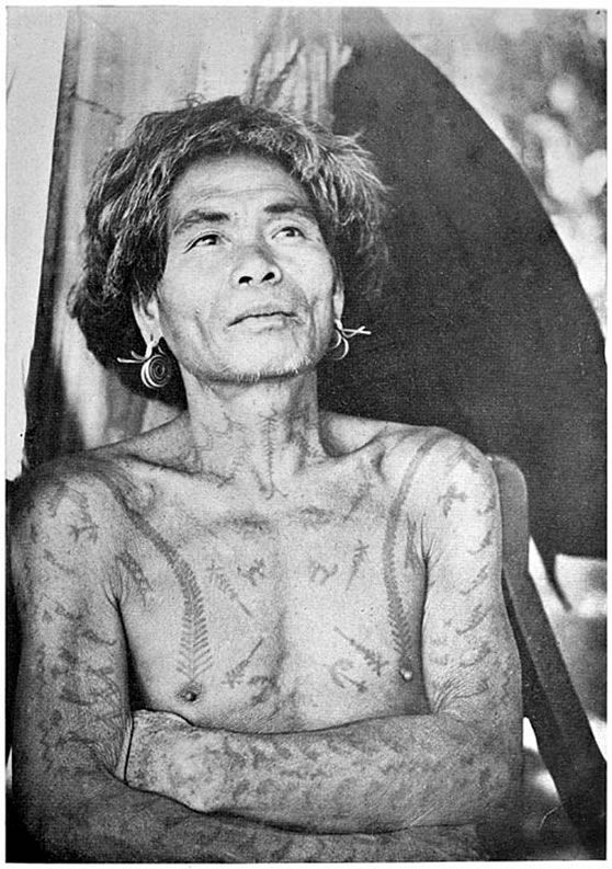 1919 photo of an Ifugao tribesman from the Philippines. The following conventional tattoo patterns may be distinguished. The dog, eagle, centipede (running up from each breast), scorpion, lightning (zigzag), shield. #VintageTattoos #VanishingTattoo #TattooHistory