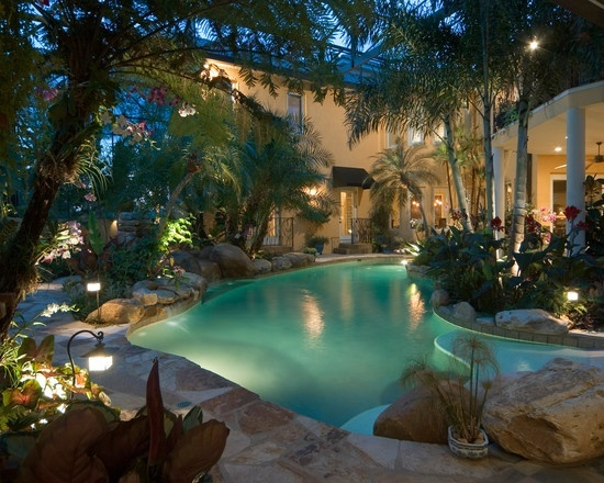 Tropical pool patio yard inspiration pinterest for Tropical pools