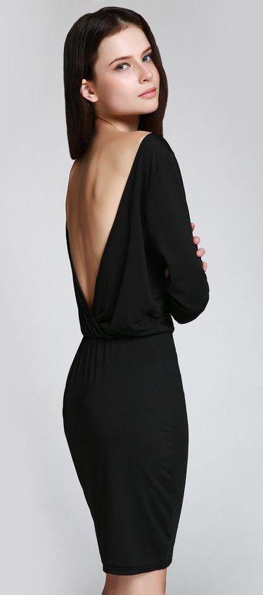 Open Back 3/4 Sleeve Bodycon Dress ==