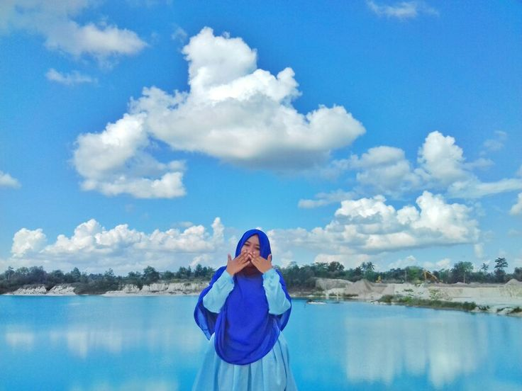 Smile 😊 with the blue dress in the blue sky