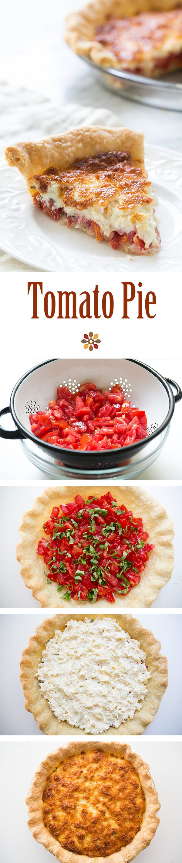 Tomato Pie ~ Tomato Pie! Fresh chopped tomatoes, basil and onions, topped with mixture of shredded cheese and mayonnaise, baked in a pie shell. ~ SimplyRecipes.com
