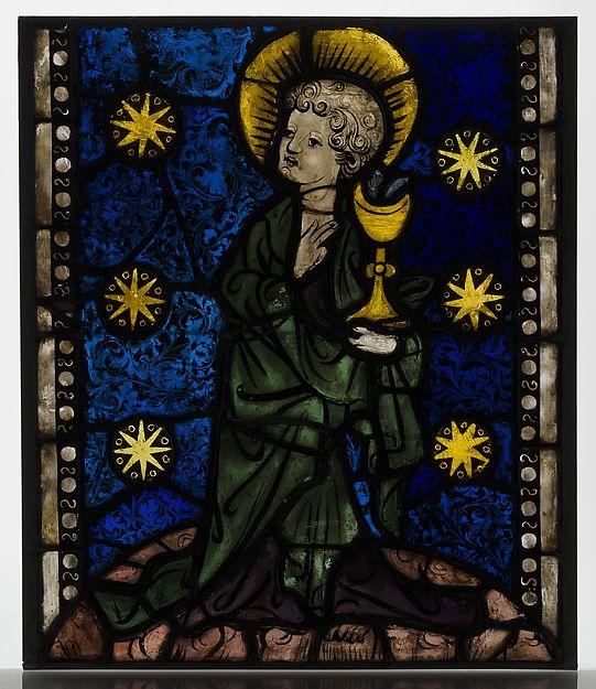 ¤ Vitrail autrichien début XVe siècle. Saint John the Evangelist Date: ca. 1410. Culture: Austrian Dimensions: Overall: 20 x 17 in. (50.8 x 43.2 cm) The Cloisters Collection, 1930