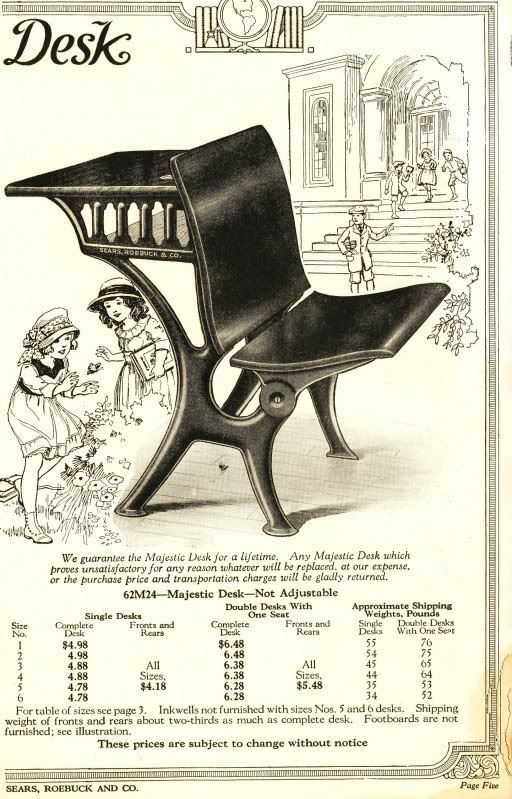 1926 Sears and Roebuck catalog titled, School Furniture and Supplies