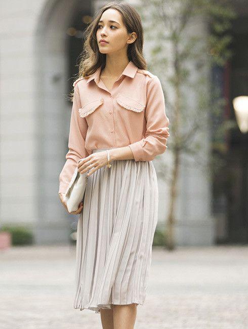 丈が隠れるくらいが上品おしゃれ♡人気・おすすめ・トレンドのチュールプリーツスカートのモテコーデ一覧♡