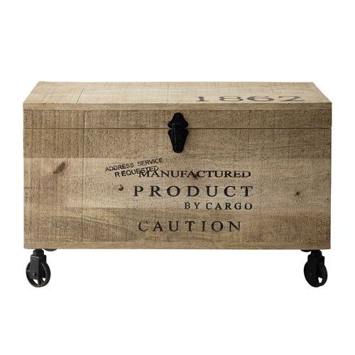 Houten hutkoffer op wieltjes, lengte 70 cm, MILTON                                                                                                                                                     More