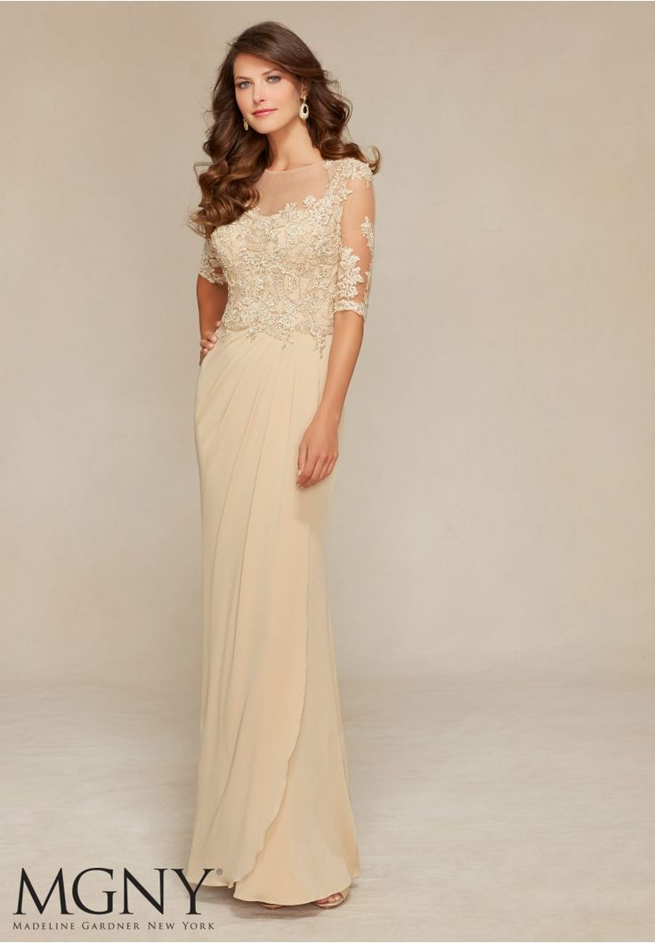 71319 Evening Gowns / Dresses Jersey with Venice Lace Appliqués and Beading Design