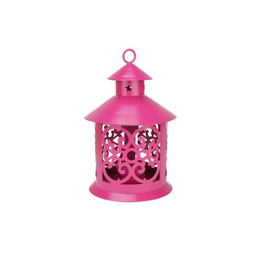 """8"""" Shiny Pink Candle Holder Lantern with Star & Scroll Cutouts"""