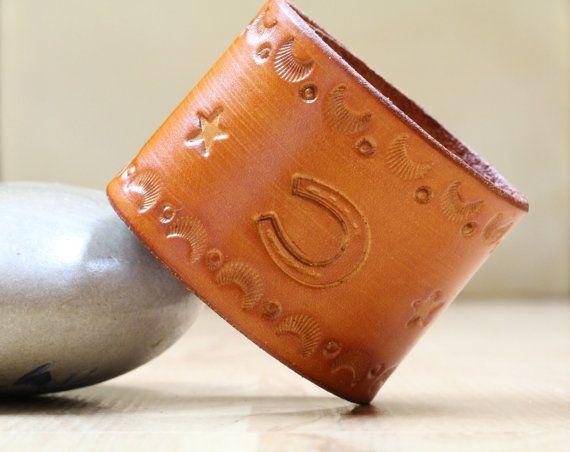 Horseshoe Bracelet  Tooled Leather Bracelet  by TinasLeatherCrafts. Repin To Remember.