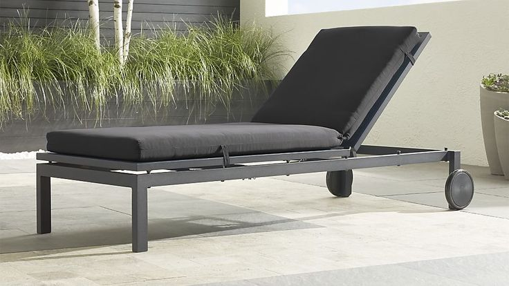 """Alfresco Grey Chaise Lounge with Sunbrella ® 3"""" Cushion 