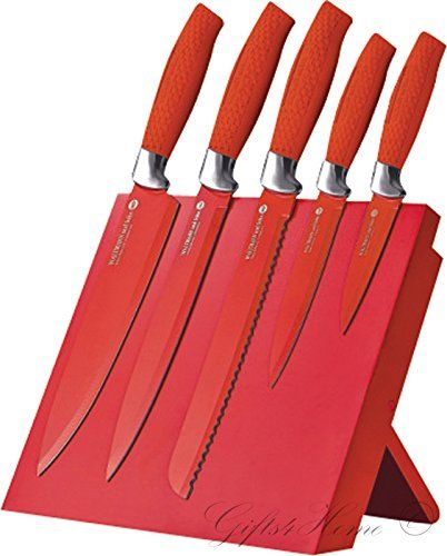 Waltmann Und Sohn® Professional Non Stick Coating 6 Piece Knife Set With  Foldable Magnetic Stand In Red Colour Brand New In Gift Box Case Waltmann U2026