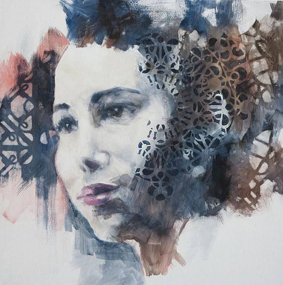 modern oil painting on canvas 70x70 cm (27x27 inch) woman face art  All of my artwork is original and signed, comes with a certificate of authenticity Please note that the painting might be difference in between screening and in person. (Normally the real art piece in person are much