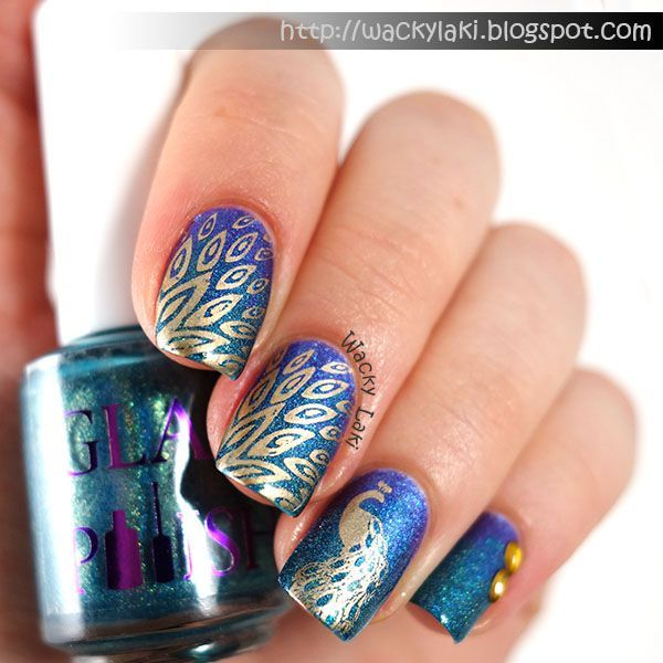 peacock nails ideas