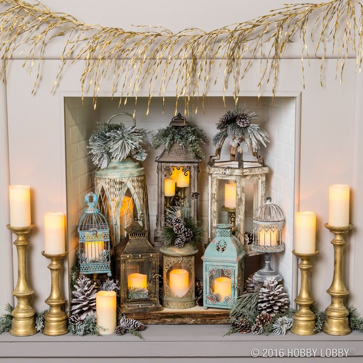 Adorn your fireplace with lovely lanterns and birdcages for a warm and welcoming winter focal piece. P.S. We used LED candles in this swoon-worthy space!