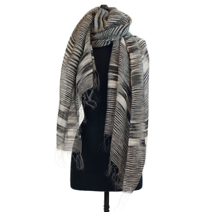 Random Ikat Scarf - Black/Off White from mimbres