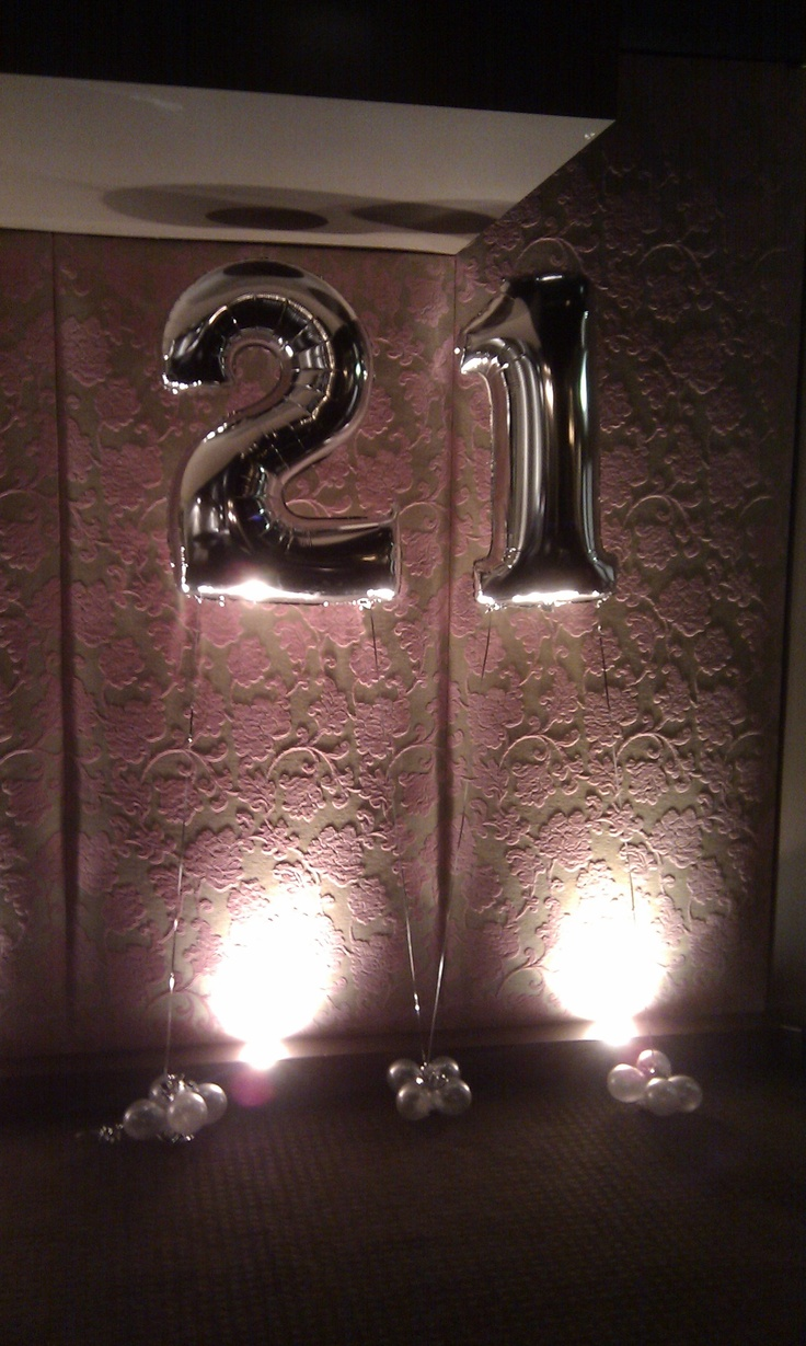 Silver 21st balloons