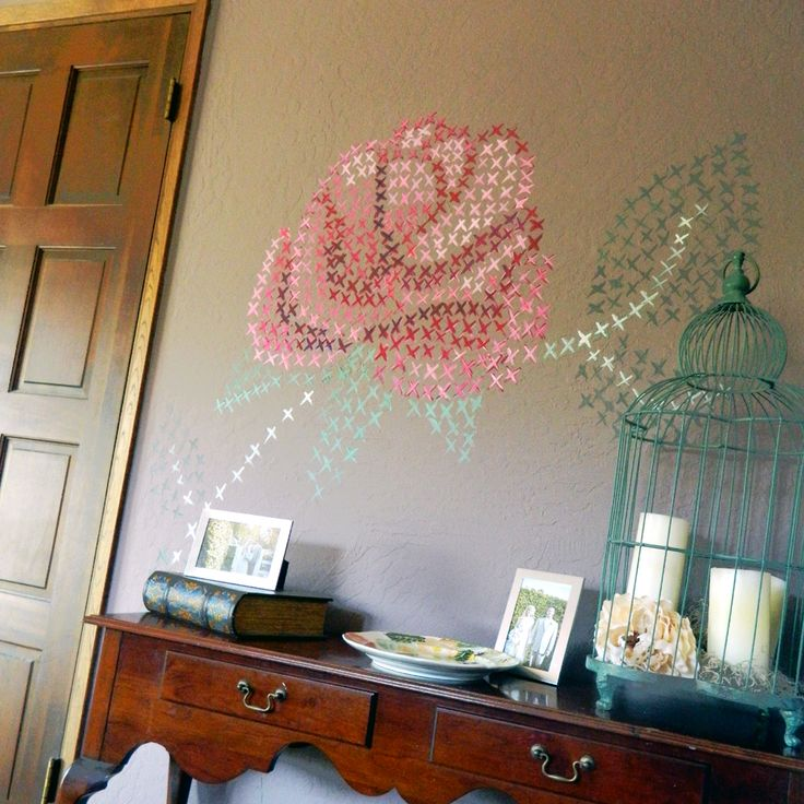 432 best images about wall art diy on pinterest diy for Cross stitch wall mural