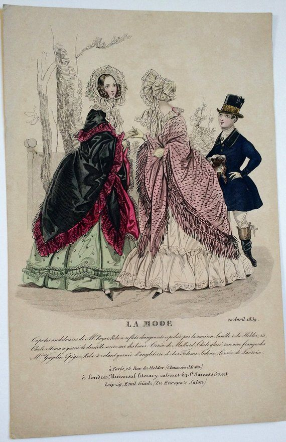 Early Victorian Engraved Hand Colored Fashion Plate La Mode 1839 Engraving Print Women 1800s Antique Ep Fashion Plates Hand Coloring Colorful Fashion