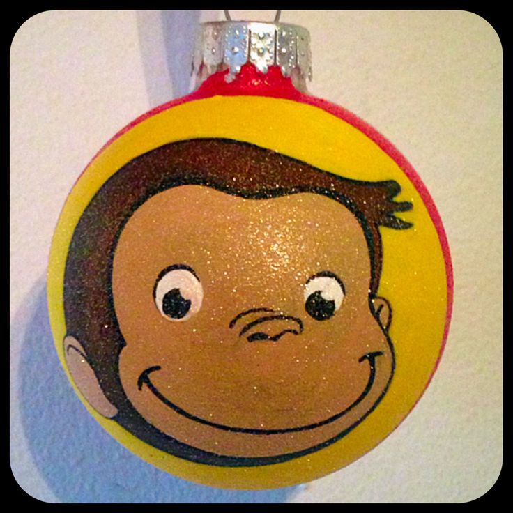 Hand Painted Curious George Ornament ~ Curious George Gifts ~ Kids Ornaments ~ Glass Ball Christmas Ornaments ~ Christmas Decor by WattsGoodArtistry on Etsy