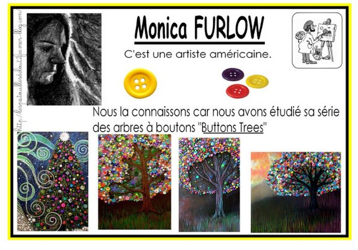 Avec Monica Furlow, les arbres ont de drôles de feuilles. Elles sont représentées par des petits boutons. Une classe de moyenne section a choisi de travailler sur un des arbres aux boutons de cette artiste. Elle en a fait tout une collection.