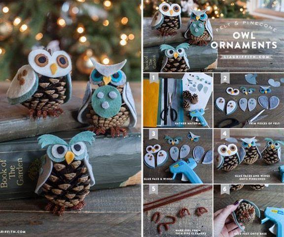 DIY Felt and Pine Cone Owl Ornaments