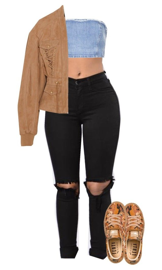 """Untitled #196"" by outfits2dope ❤ liked on Polyvore featuring Topshop, Balmain and Puma"