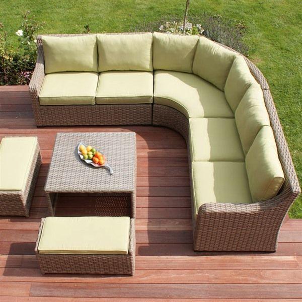 Maze Rattan Natural Milan Highback Corner Sofa
