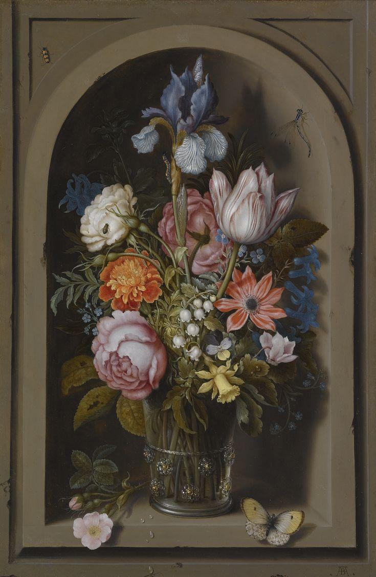 Watercolor art history - Ambrosius Bosschaert The Elder A Still Life Of Flowers In A Glass Beaker Set In A Art History
