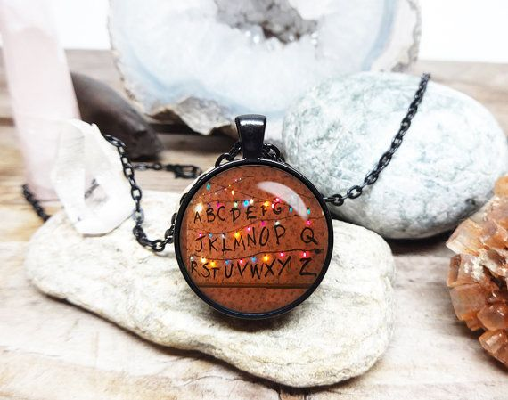 stranger things necklace stranger things jewelry christmas lights alien necklace monster necklace stranger things fan letters on the wall