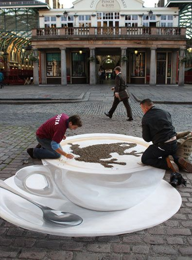 Chalk Art...Amazed at the perspective. Plus, I love a good cappuccino