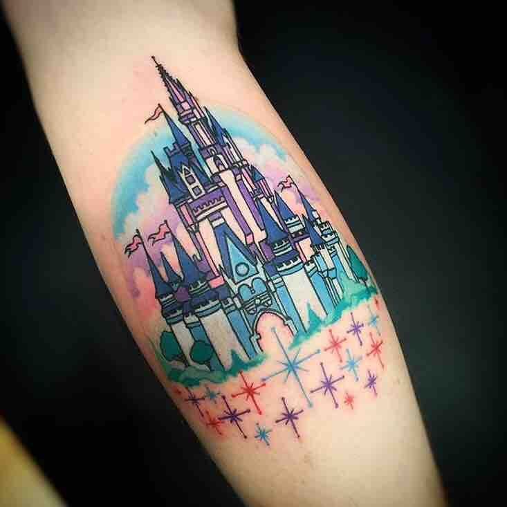 """Vintage Disney World Castle by Jeremy """"Sloo"""" Hamilton at Made to Last Tattoos in Charlotte NC"""